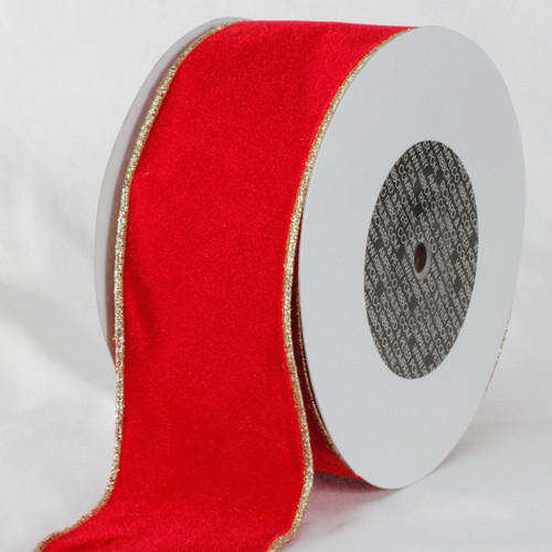 "Red and Gold Colored Woven Edge Soft Velvet Ribbon 3"" x 20 Yards - IMAGE 1"
