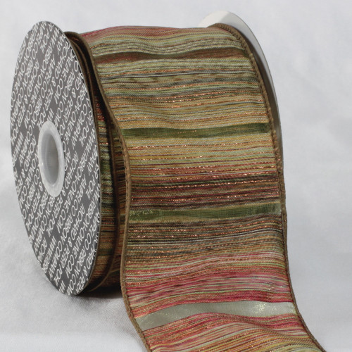 """Green and Red Diagonal Stripe Wired Edge Craft Ribbon 3"""" x 20 Yards - IMAGE 1"""