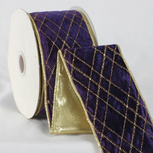 """Navy Blue and Gold Colored Diamond Patterned Craft Ribbon 3"""" x 20 Yards - IMAGE 1"""