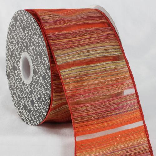 "Orange and Red Diagonal Stripe Wired Edge Craft Ribbon 3"" x 20 Yards - IMAGE 1"