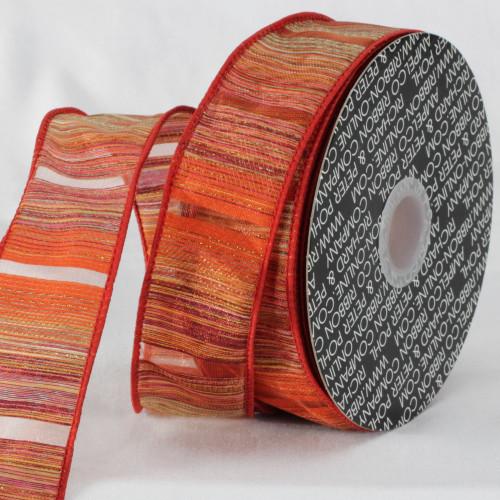 "Orange and Red Diagonal Stripe Wired Edge Craft Ribbon 1.5"" x 20 Yards - IMAGE 1"