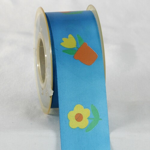 """Blue and Yellow Floral Printed Ribbon 1.5"""" x 27 Yards - IMAGE 1"""