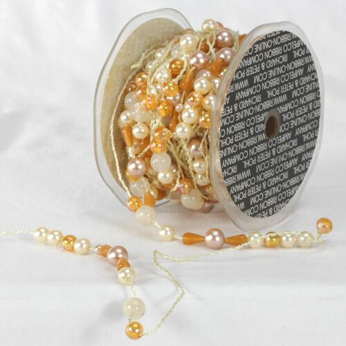 "Ivory and Orange Colorado Garland Beads Craft Ribbon 0.25"" x 27 Yards - IMAGE 1"