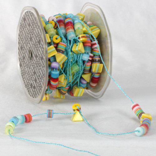 "Turquoise Blue and Yellow Colorado Garland Beads Craft Ribbon 0.25"" x 27 Yards - IMAGE 1"