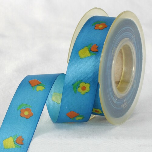 """Blue and Yellow Floral Printed Ribbon 1"""" x 27 Yards - IMAGE 1"""