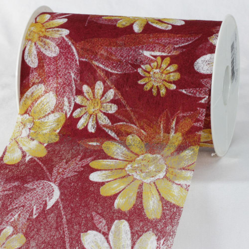 "Maroon Red and Yellow Floral Print Cotonel Bordeaux Ribbon 5.5"" x 27 Yards - IMAGE 1"