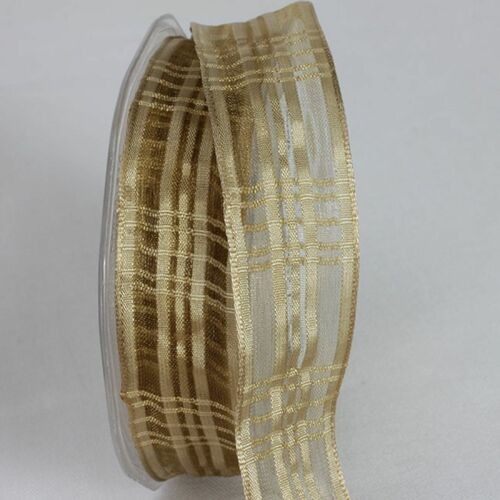 """Gold Colored Plaid French Wired Craft Ribbon 1"""" x 25 Yards - IMAGE 1"""