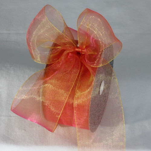 """Orange and Gold colored Shimmering Crystal Organdy Ribbon 2"""" x 55 Yards - IMAGE 1"""
