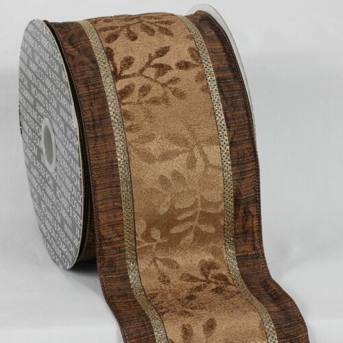 """Brown Leaves Wired Edge Craft Ribbon 4"""" x 20 Yards - IMAGE 1"""