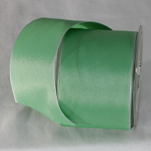 """Mint Green Solid Wired Edge Ribbon 2.6"""" x 27 Yards - IMAGE 1"""