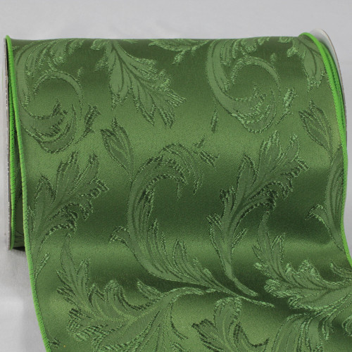 """Hunter Green Floral Wired Craft Ribbon 8"""" x 20 Yards - IMAGE 1"""