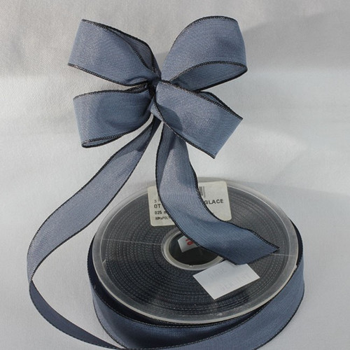 """French Blue Solid Wired Edge Ribbon 1"""" x 27 Yards - IMAGE 1"""