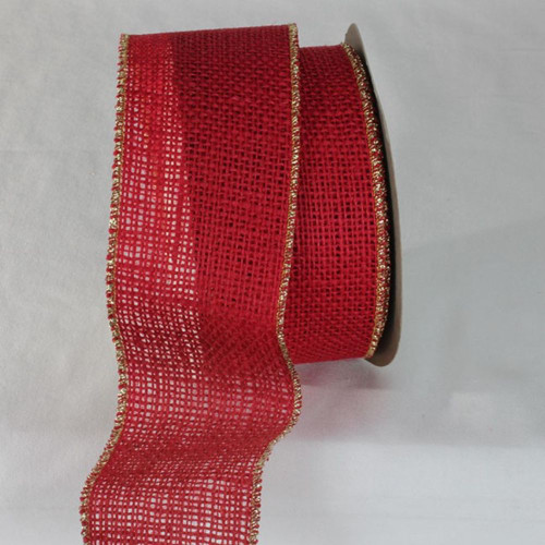 "Red and Gold Colored Wired Edge Burlap Ribbon 2.75"" x 11 Yards - IMAGE 1"