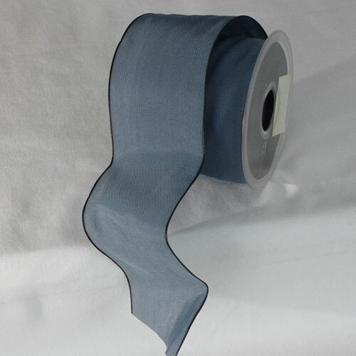 "French Blue Solid Wired Edge Ribbon 2.6"" x 27 Yards - IMAGE 1"