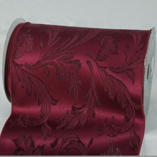 "Burgundy Red Floral Wired Craft Ribbon 8"" x 20 Yards - IMAGE 1"