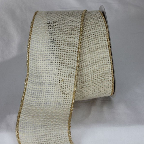 """Ivory White and Gold Colored Wired Edge Burlap Ribbon 2.75"""" x 11 Yards - IMAGE 1"""