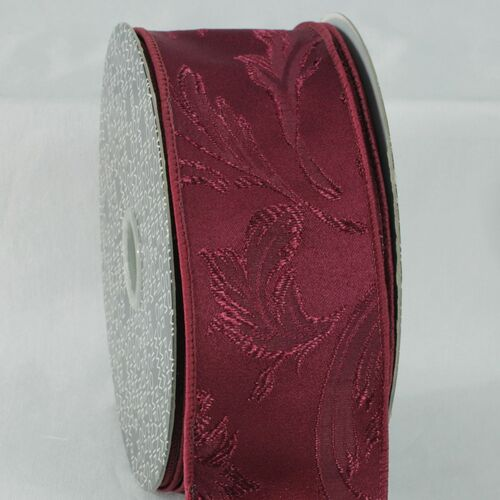 """Burgundy Red Floral Wired Craft Ribbon 2.5"""" x 20 Yards - IMAGE 1"""