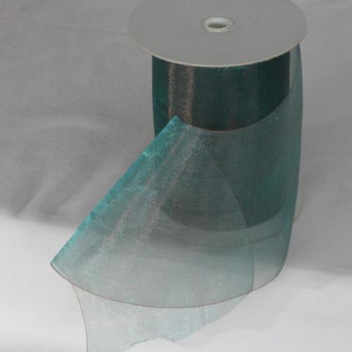 "Aqua Green Shimmering Crystal Organdy Wired Craft Ribbon 4"" x 27 Yards - IMAGE 1"