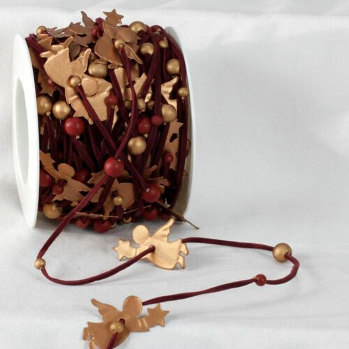 """Gold Colored and Brown Garland Ribbon 1.4"""" x 22 Yards - IMAGE 1"""