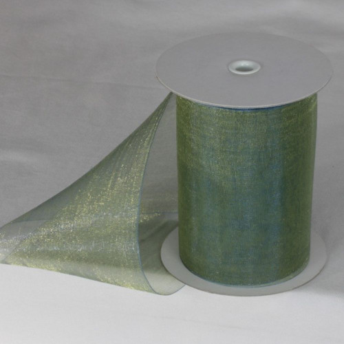 """Gold Colored and Green Shimmering Crystal Organdy Wired Craft Ribbon 4"""" x 27 Yards - IMAGE 1"""