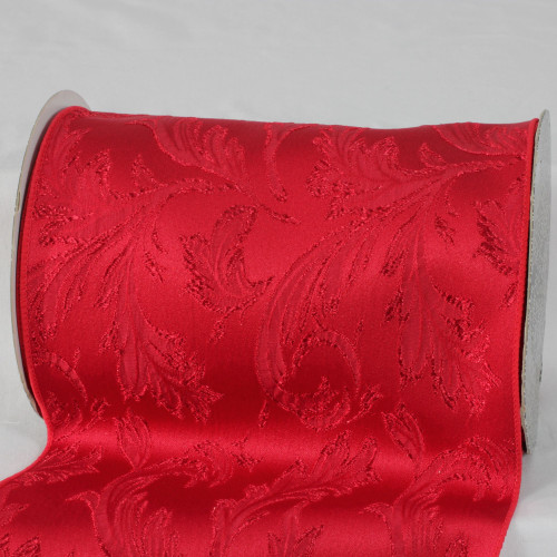 """Scarlet Red Floral Wired Craft Ribbon 8"""" x 20 Yards - IMAGE 1"""