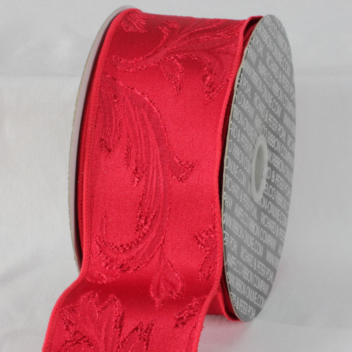"""Scarlet Red Floral Wired Craft Ribbon 2.5"""" x 20 Yards - IMAGE 1"""