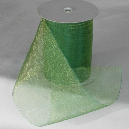 """Green and Gold Colored Shimmering Crystal Organdy Wired Craft Ribbon 4"""" x 27 Yards - IMAGE 1"""