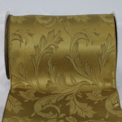 """Olive Green Floral Wired Craft Ribbon 8"""" x 20 Yards - IMAGE 1"""