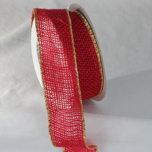 "Red and Gold Colored Wired Edge Burlap Ribbon 2"" x 11 Yards - IMAGE 1"