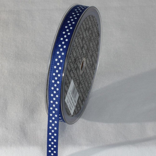 """Blue and White Polka Dots Patterned Grosgrain Ribbon 0.3"""" x 22 Yards - IMAGE 1"""