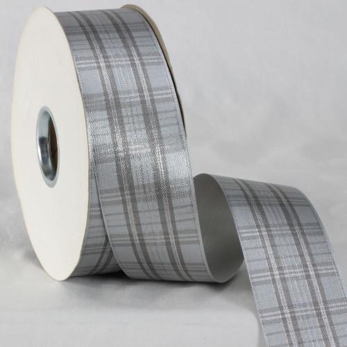 "Gray and Black Plaid Ribbon 2"" x 110 Yards - IMAGE 1"