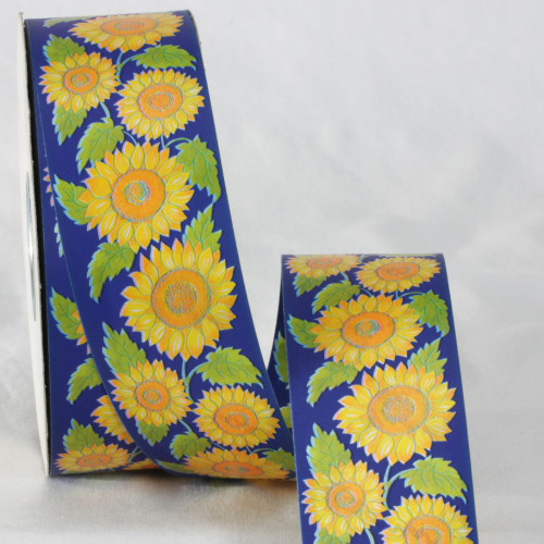 "Blue and Yellow Floral Printed Ribbon 2"" x 110 Yards - IMAGE 1"