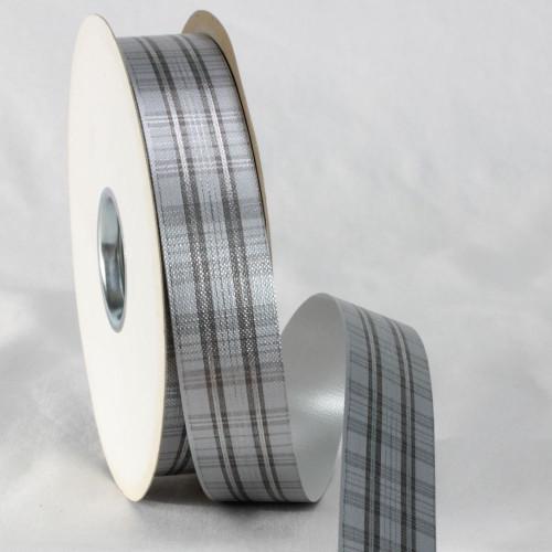 "Gray and Black Plaid Ribbon 1.2"" x 110 Yards - IMAGE 1"