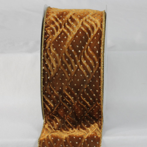 """Gold Colored and Brown Wire Edge Craft Ribbon 4"""" x 20 Yards - IMAGE 1"""