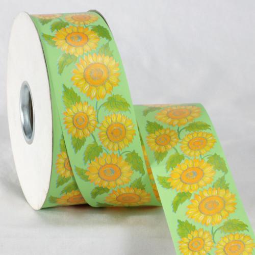 "Green and Yellow Floral Printed Ribbon 2"" x 110 Yards - IMAGE 1"