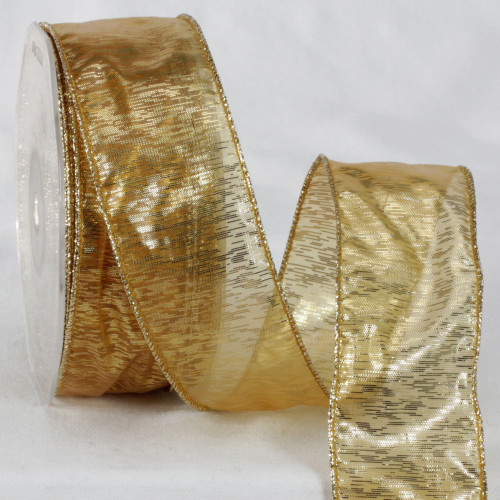 """Gold Colored Metallic Sheer Wired Craft Ribbon 1.5"""" x 27 Yards - IMAGE 1"""