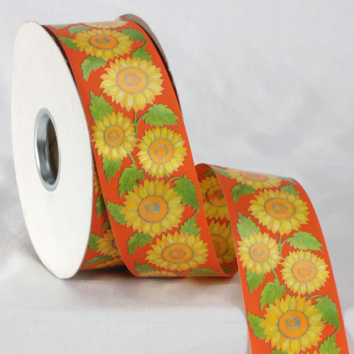 "Orange and Yellow Floral Printed Ribbon 2"" x 110 Yards - IMAGE 1"