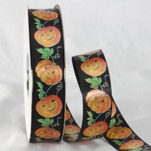 "Black and Orange Halloween Themed Ribbon 1.2"" x 110 Yards - IMAGE 1"