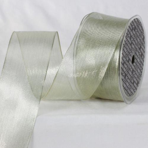 """Pearl White Metallic Sheer Wired Craft Ribbon 2"""" x 25 Yards - IMAGE 1"""