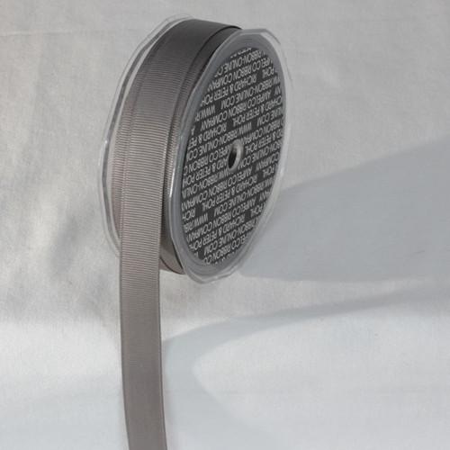 "Gray Striped Woven Edge Grosgrain Ribbon 0.6"" x 22 Yards - IMAGE 1"