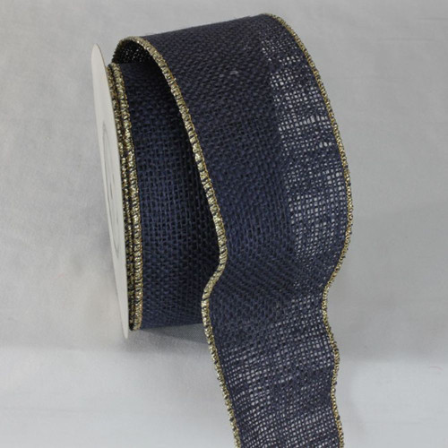 """Navy Blue and Gold Colored Wired Edge Burlap Ribbon 2.75"""" x 11 Yards - IMAGE 1"""
