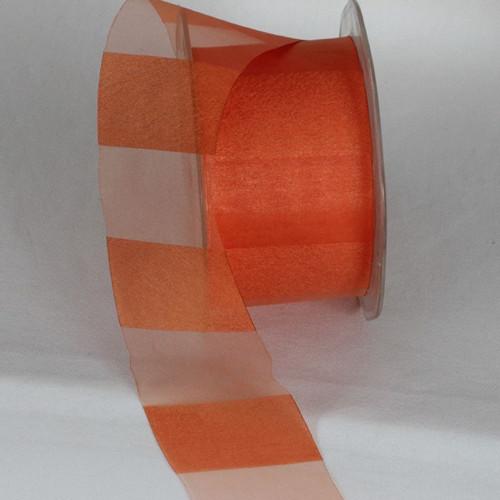 """Orange Sheer Striped Craft Ribbon 2"""" x 55 Yards - IMAGE 1"""
