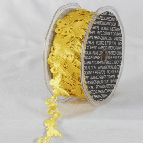 """Yellow Sticky Back Enchanting Butterfly Garland Lace Craft Ribbon 0.8"""" x 22 Yards - IMAGE 1"""