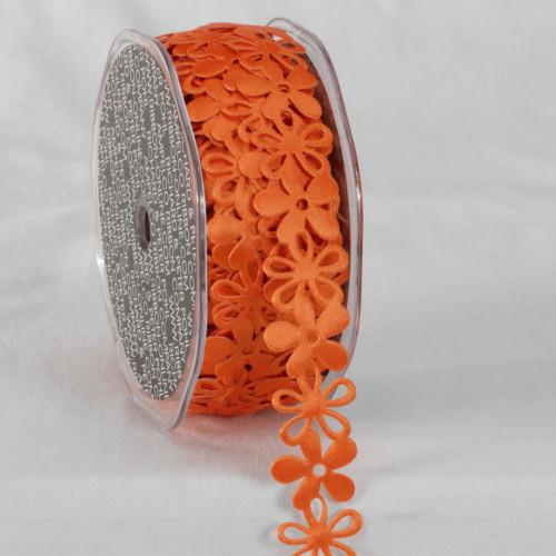 "Orange Sticky Back Flower Garland Lace Craft Ribbon 0.8"" x 22 Yards - IMAGE 1"