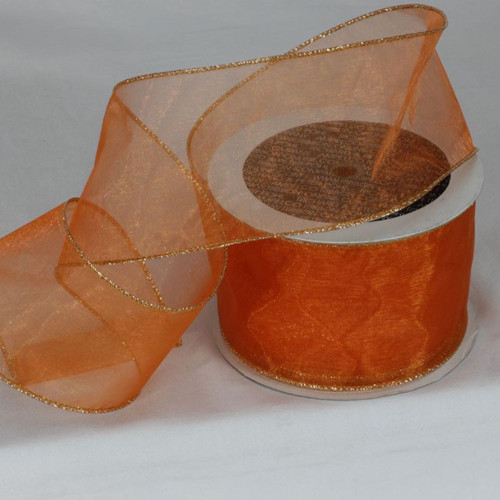 """Orange and Gold Colored Edge Wired Craft Organza Ribbon 3"""" x 27 Yards - IMAGE 1"""