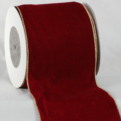 "Scarlet Red and Gold Colored Woven Edge Soft Velvet Ribbon 6"" x 20 Yards - IMAGE 1"