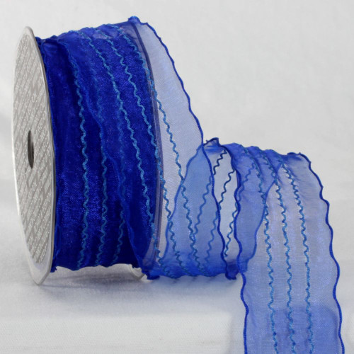 """Blue Contemporary Wave Craft Ribbon 1.5"""" x 22 Yards - IMAGE 1"""