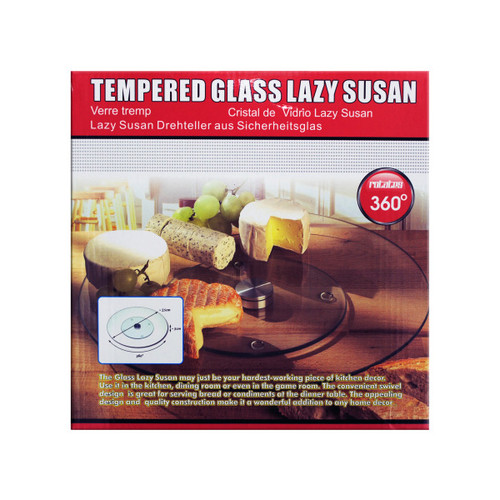 """10"""" Clear and Silver Colored Tempered Glass Lazy Susan - IMAGE 1"""