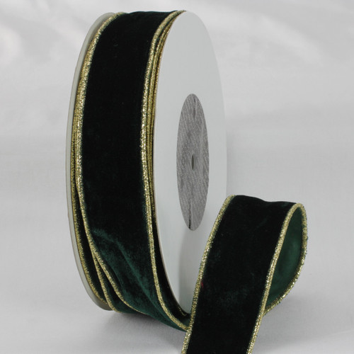 """Hunter Green and Gold Colored Woven Edge Soft Velvet Ribbon 2"""" x 20 Yards - IMAGE 1"""