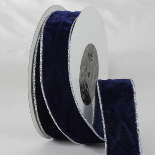 """Navy Blue and Silver Colored Woven Edge Soft Velvet Ribbon 2"""" x 20 Yards - IMAGE 1"""